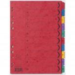 Register mit bedruckten Taben aus Manilakarton, 225g/qm, 10 Positionen, Taben 1-10, für Format DIN A4