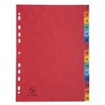 Register mit bedruckten Taben aus Manilakarton, 225g/qm, 15 Positionen, Taben 1-15, für Format DIN A4