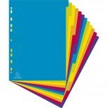 Register mit farbigen Taben aus PP 300µ, 12-teilig, für DIN A4 Maxi - Campus