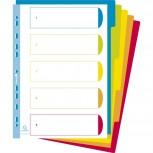 Register mit farbigen Taben aus PP 300µ, 5-teilig, für DIN A4 Maxi - Campus