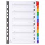 Register numerisch bedruckt, weißer Karton 160g/qm, 12 Taben, 1-12, DIN A4