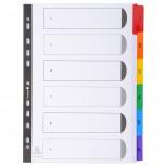 Register numerisch bedruckt, weißer Karton 160g/qm, 6 Taben, 1-6, DIN A4