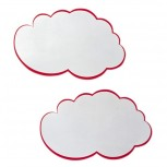 selbstklebende Moderationskarte Wolke, 100 x 60 mm, weiß mit rotem Rand, 20